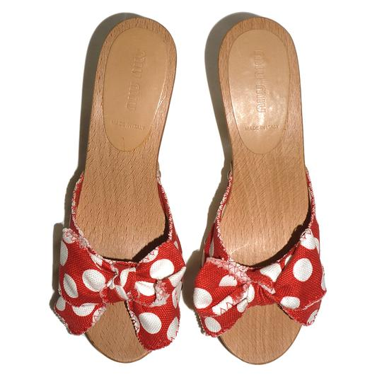 Miu Miu Studded Polka Dot Bow Wood Red Sandals