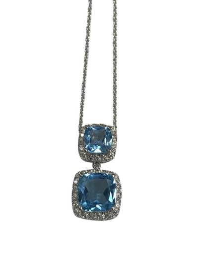 Preload https://item1.tradesy.com/images/blue-925-sterling-silver-cushion-topaz-and-cz-halo-pendant-on-chain-21548610-0-1.jpg?width=440&height=440