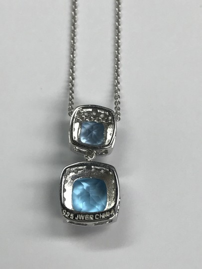 JWBR JWBR 925 Sterling Silver Cushion Blue Topaz & CZ Halo Pendant On Chain