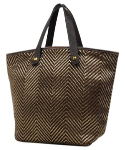 Hermes Chennai Cabas Vibrato Limited Edition Woven Tote in gold x Brown