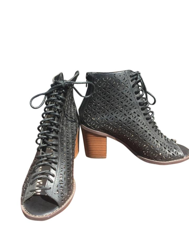 eb473ab1a9b Forever 21 Lace Up Open Toe Chunky Heel Laser Cut Black Boots Image 0 ...