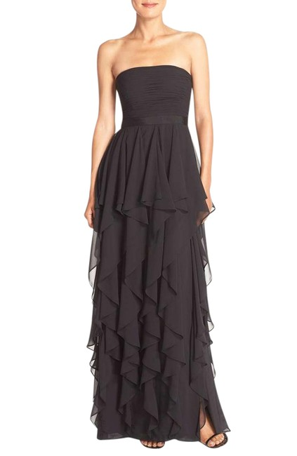 Preload https://item4.tradesy.com/images/adrianna-papell-black-strapless-chiffon-ruffle-gown-long-night-out-dress-size-4-s-21548813-0-1.jpg?width=400&height=650