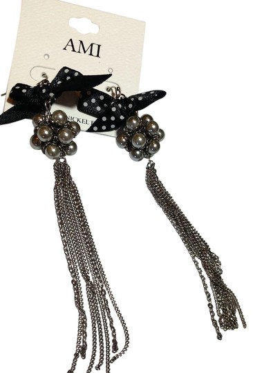 Preload https://item5.tradesy.com/images/ami-black-silver-new-long-dangle-chain-faux-pearl-bow-j3433-earrings-21548854-0-1.jpg?width=440&height=440