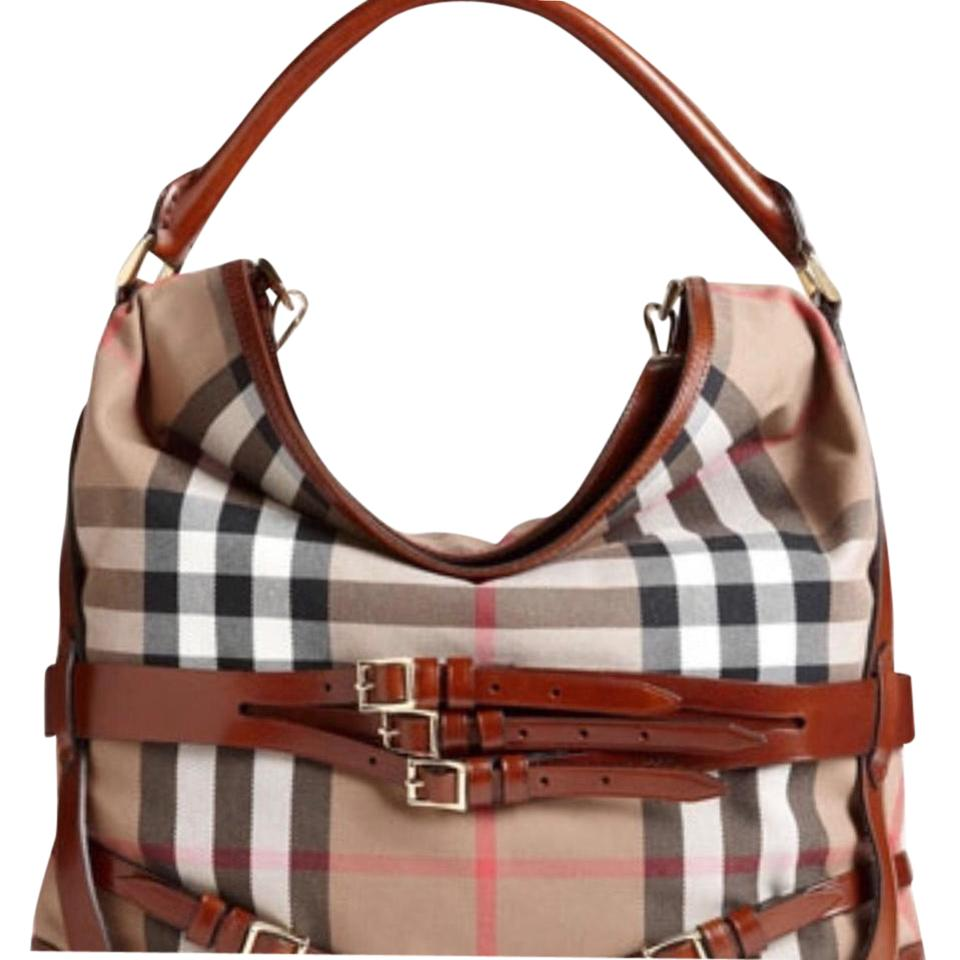 3c21c94f494c Burberry Bridle  house Large Dark Tan Check Canvass  Leather Hobo ...