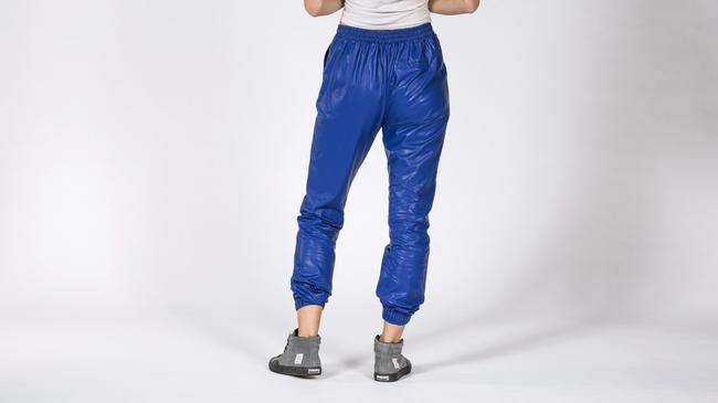 NIGHTWALKER Jogger Faux Leather Casual Relaxed Pants BLUE