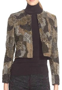Alice + Olivia Beaded Sequin Jacket Gold Blazer