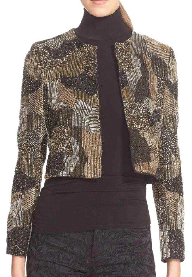 5aa05874d03 Alice + Olivia Gold New Kidman Sequin Cropped Jacket Blazer Size 4 ...