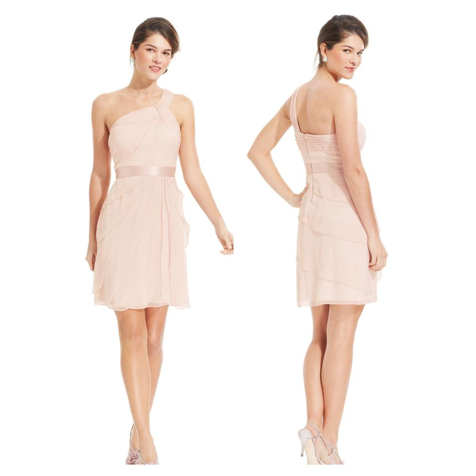 Adrianna Papell Blush Pink One Shoulder Chiffon Mid-length Formal ...