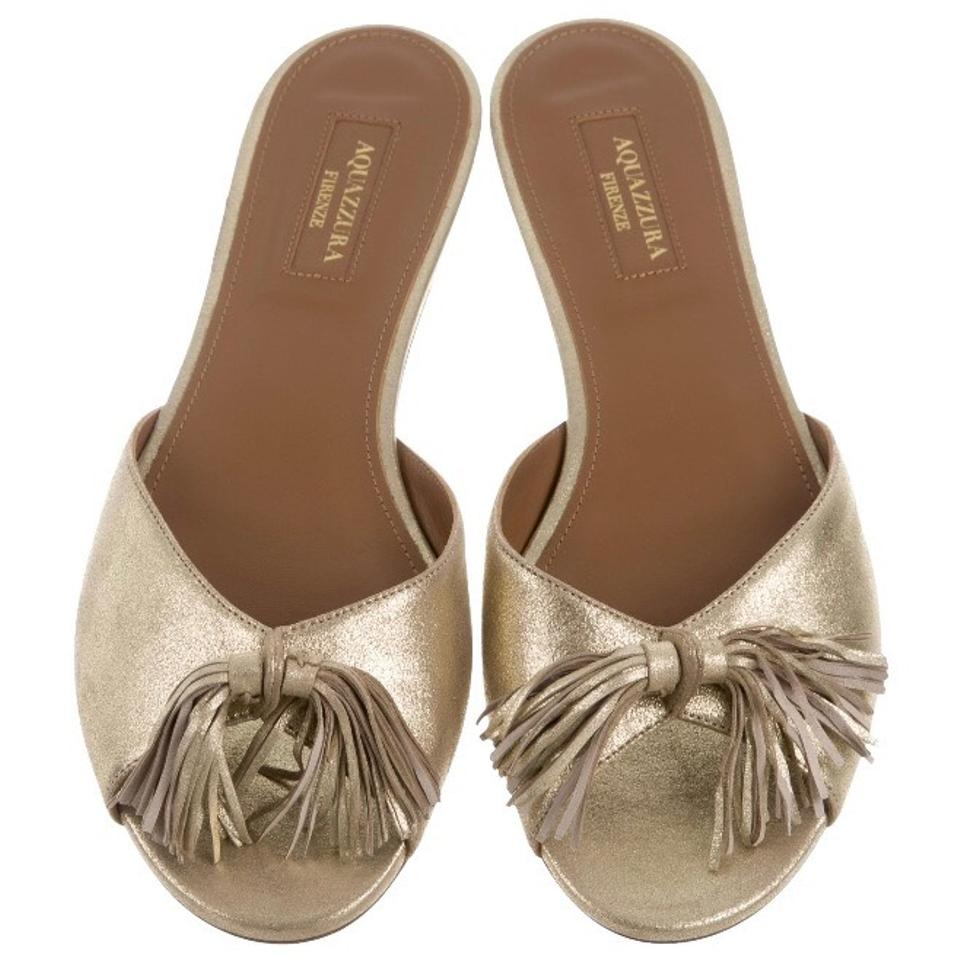 f73cb7274f9 Aquazzura Gold Wild Slide Fringe Mule Slippers Sandals Size US 7.5 Regular  (M, B) 20% off retail