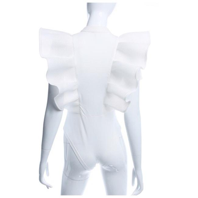 Other Dramatic Ruffle Bodysuit Top White