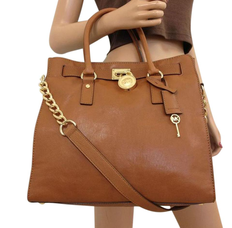 Michael Kors Mk Hamilton Large Tote In Luggage Browngold Tone Hardware