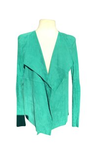 St. John Suede Leather Wrap Longsleeve Collar Draped Lapel Green Jacket