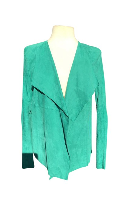 Item - Green Suede Leather Long Sleeve Open Wrap Collar Jacket Size Petite 4 (S)