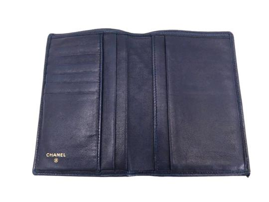 Chanel Quilted Navy Blue Lambskin Wallet 218353