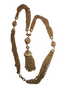 Trifari Crown Trifari Tassel Multi Chain Necklace Gold Long Signed Vintage