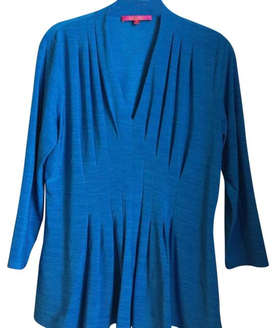 Preload https://img-static.tradesy.com/item/21549301/catherine-malandrino-blue-fit-and-flare-blouse-size-8-m-0-1-650-650.jpg