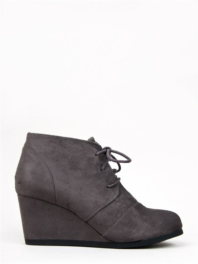 J. Adams Ankle Wedge Lace Up Round Toe Low Heels Charcoal IMSU Boots