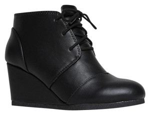 J. Adams Ankle Wedge Lace Up Round Toe Low Heels Black PU Boots