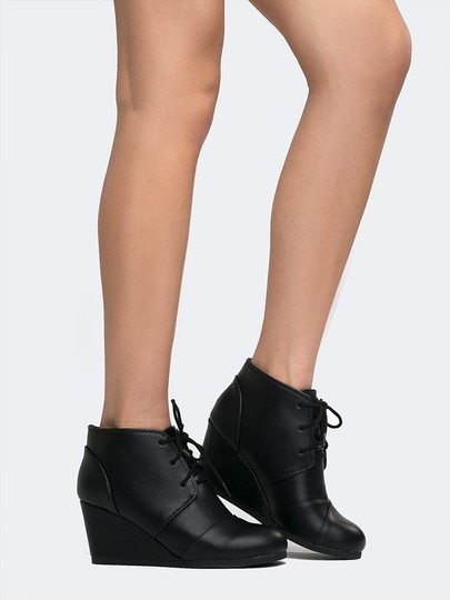 J. Adams Ankle Wedge Lace Up Low Heels Round Toe Black PU Boots