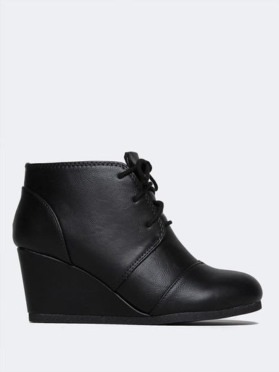 J. Adams Ankle Round Toe Lace Up Low Heels Wedge Black PU Boots