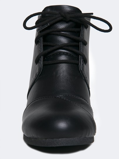 J. Adams Ankle Round Toe Wedge Lace Up Low Heels Black PU Boots
