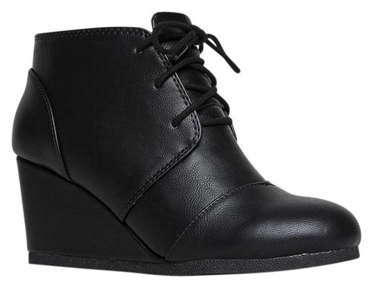 J. Adams Ankle Wedge Round Toe Lace Up Low Heels Black PU Boots