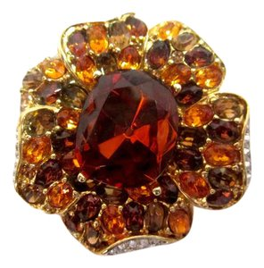 Kenneth Jay Lane Flower Pin Sparkly Crystal Amber Gold White Colors
