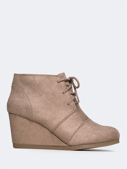 J. Adams Ankle Wedge Round Toe Low Heels Lace Up Light Taupe ISU Boots