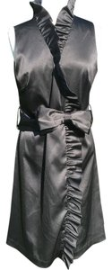 Eliza J Satin Ruffle Sleeveless Wrap Dress