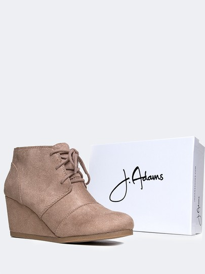 J. Adams Ankle Wedge Lace Up Round Toe Low Heels Light Taupe ISU Boots