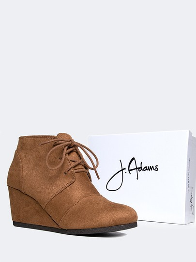 J. Adams Ankle Wedge Round Toe Lace Up Low Heels Hazel IMSU Boots
