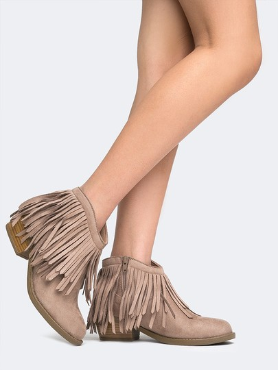 J. Adams Ankle Fringe Zipper Round Toe Taupe Suede Boots