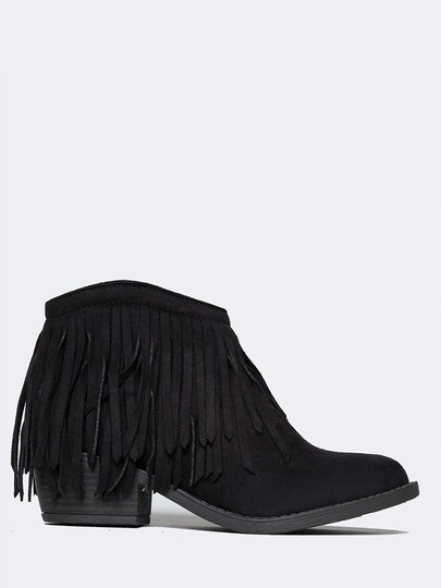 J. Adams Ankle Fringe Round Toe Zipper Black Suede Boots