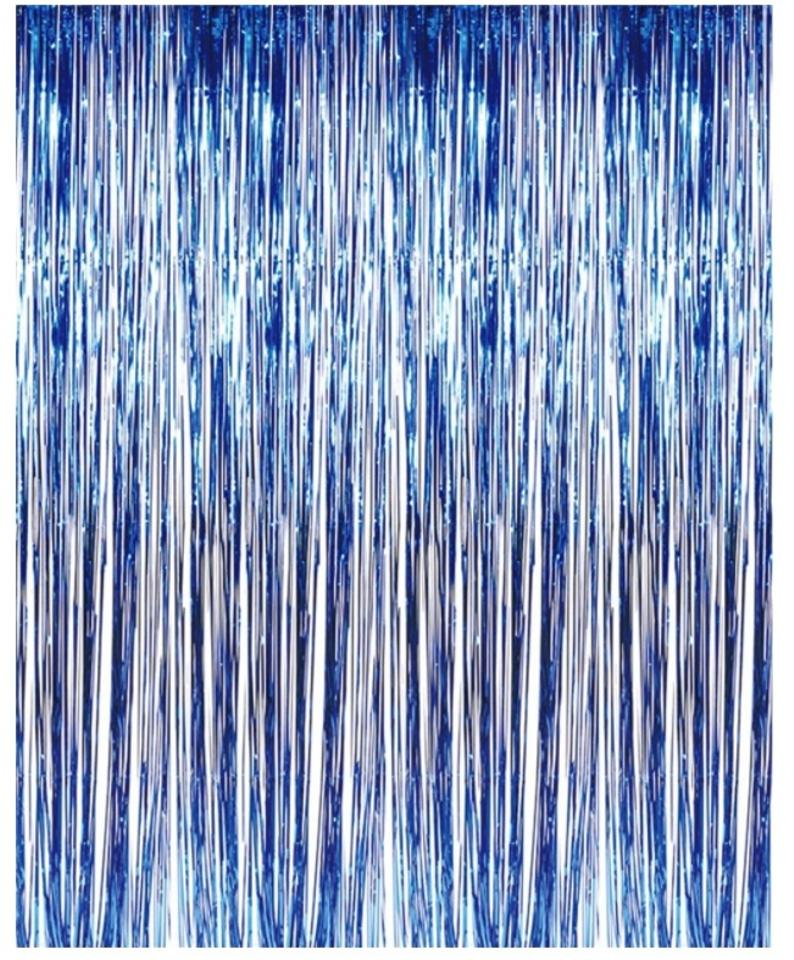 Blue Metallic Foil Fringe Curtains For Door Window Reception Decoration