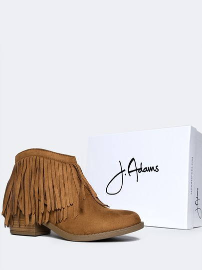 J. Adams Ankle Fringe Round Toe Zipper Tan Boots
