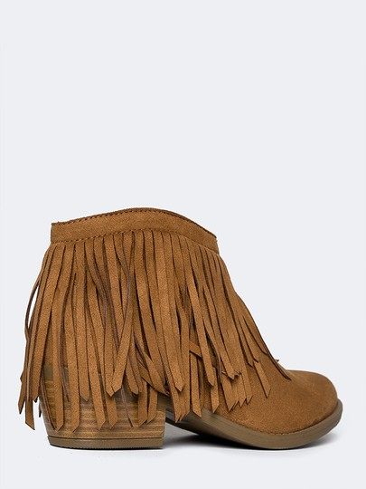 J. Adams Ankle Fringe Zipper Round Toe Tan Boots