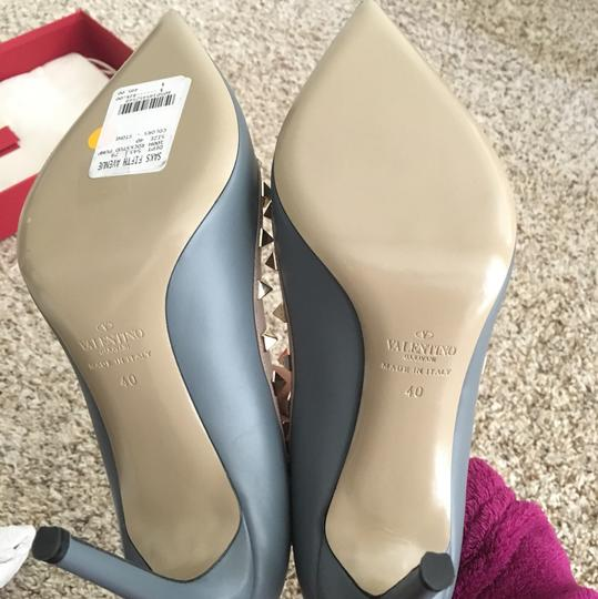 Valentino Stud Studded High-heel Kitten Stone Grey Blue Pumps