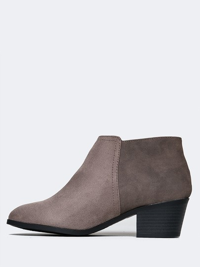 J. Adams Round Toe Zipper Low Heels Sandals Taupe Boots