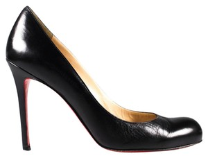 Christian Louboutin Leather Kid 100 Red Stiletto Black Pumps