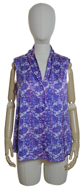 Theory Sleeveless Print Top Purple