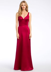 Hayley Paige Collections Burgundy Satin 5666 Formal Bridesmaid/Mob Dress Size 12 (L)