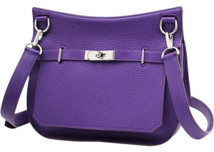 Hermes Clemence Palladium Jypsiere Purple Messenger Bag