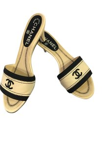 Chanel Off white with black Mules