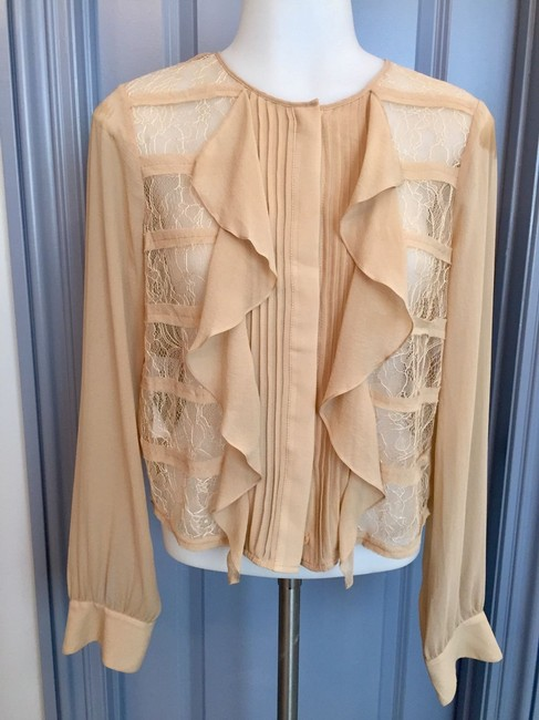 BCBGMAXAZRIA Bcbg Tan Sheer Ruffle High Neck Top Beige