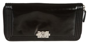 Chanel Chanel Black Leather Boy Zip-Around Wallet