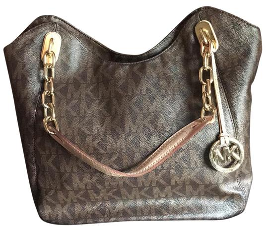 Preload https://img-static.tradesy.com/item/21550585/michael-kors-lilly-tote-brown-and-gold-leather-hobo-bag-0-1-540-540.jpg