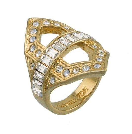 Rachel Zoe New Rachel Zoe Art Deco Gold Plated Ring Sz 7