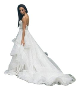 Monique Lhuillier Ivory Tulle/ Mesh Bliss Collection Modern Wedding Dress Size 4 (S)
