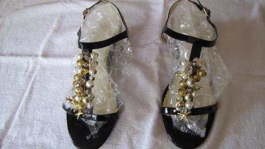Rafe Designer Cork Wedge Black with gold and pearl accents Sandals