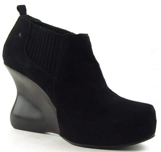 CoSTUME NATIONAL Wedge Ankle Suede Designer Black Boots